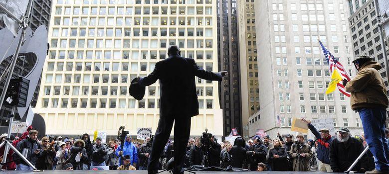 Foto: Mitin político del tea party de chicago contra el gobierno federal y altos impuestos