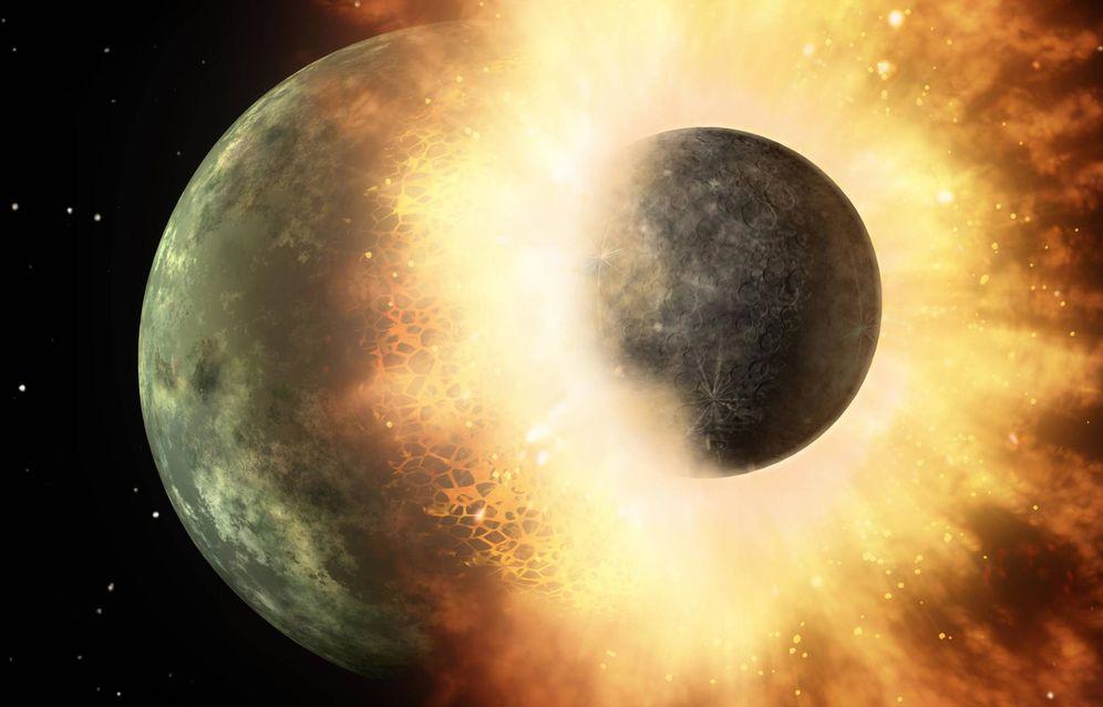 Foto: Ilustración del impacto entre dos cuerpos planetarios, la teoría más corriente hasta ahora sobre la formación de la Luna (NASA)