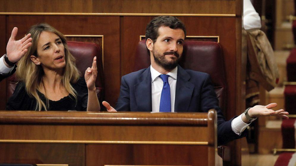 Foto: El líder del PP, Pablo Casado, en su escaño durante la sesión de investidura. (EFE)