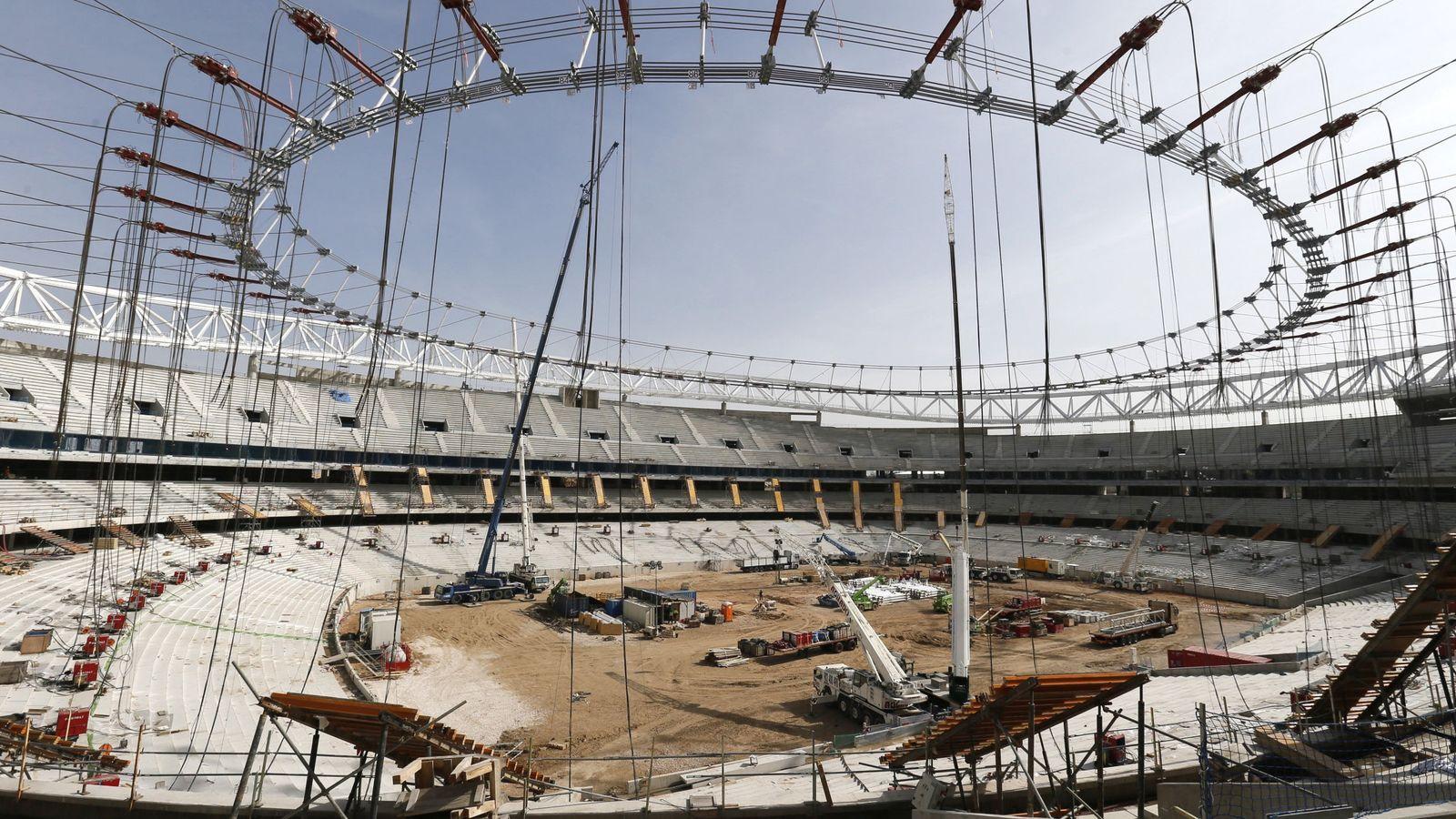 Foto: Las obras del estadio de la Peineta, ahora bautizado como Wanda Metropolitano, el pasado 24 de febrero. (EFE)