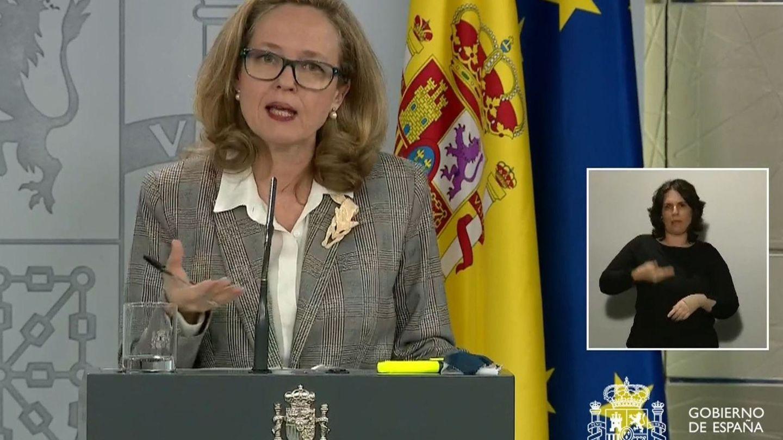 Nadia Calviño, durante la rueda de prensa que ofreció este lunes en La Moncloa. (EFE)