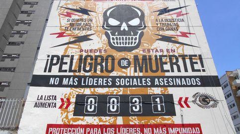 Gran mural denuncia el asesinato de líderes sociales