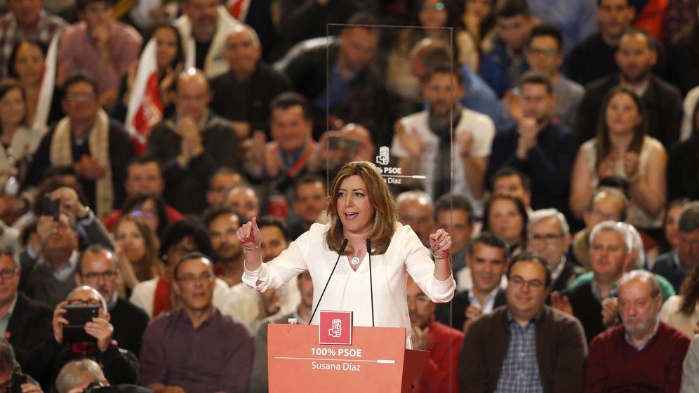 Foto: Susana Díaz, durante su intervención en el acto político de este domingo en Madrid. (EFE)