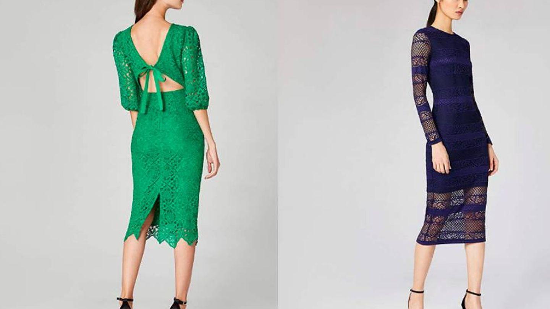 Vestido verde (43,63 €) y con encaje y transparencias (24,71 €), de Truth & Fable.