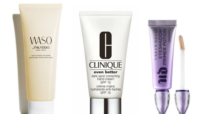 Waso Soft Cushy Polisher, de Shiseido; Crema de manos Even Better, de Clinique; Eyeshadow Primer Potion, de Urban Decay.