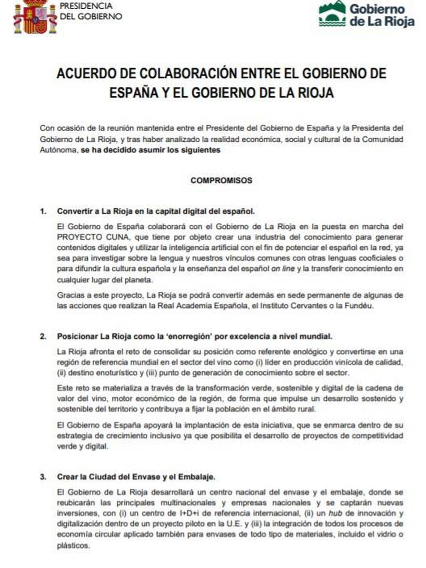 Consulte aquí en PDF el acuerdo entre el Gobierno de España y el Gobierno de La Rioja de este 28 de febrero de 2020.