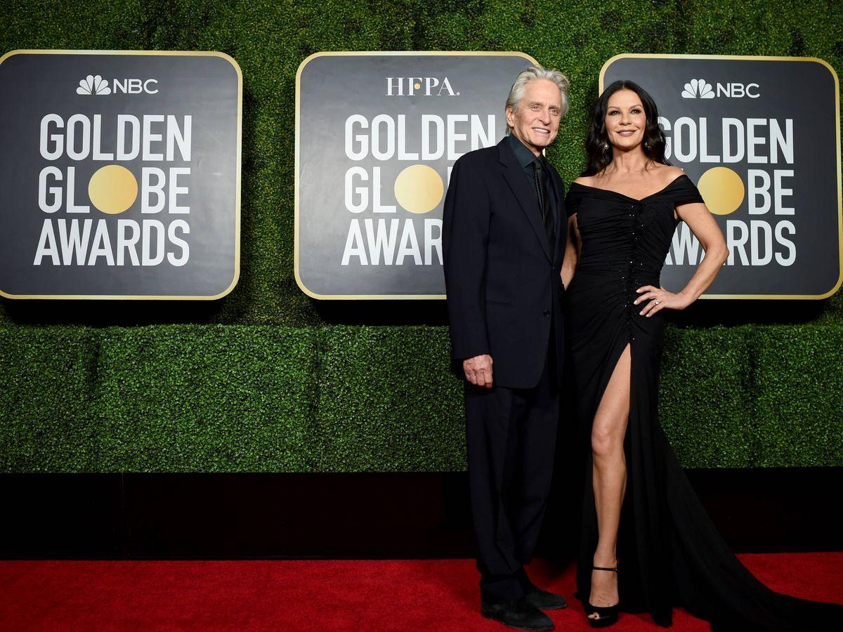 Foto: Michael Douglas y Catherine Zeta-Jones en los Globos de Oro. (Getty)