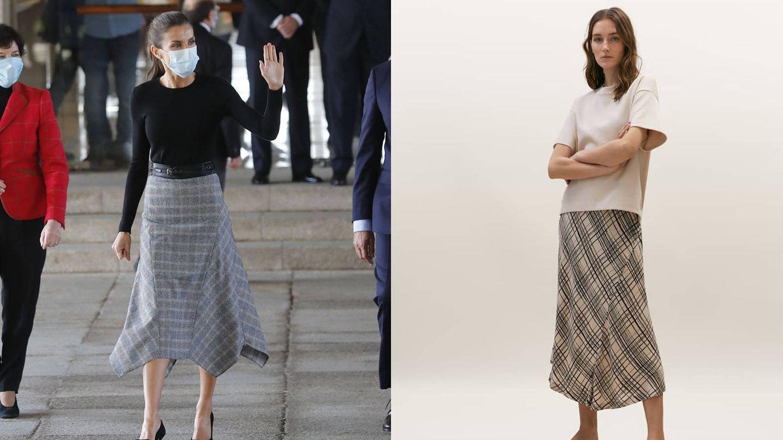 La reina Letizia en Santiago / Falda de Massimo Dutti. (EFE / Cortesía)