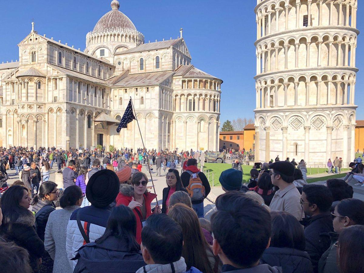 Foto: La guía Susana Bernal en Pisa, antes de la pandemia