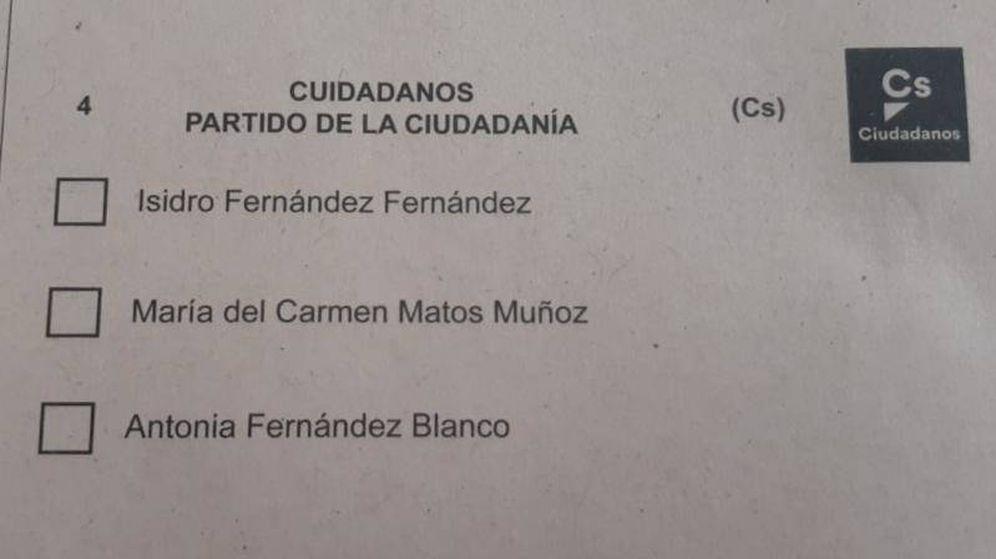 Foto: Papeleta de Ciudadanos con una errata