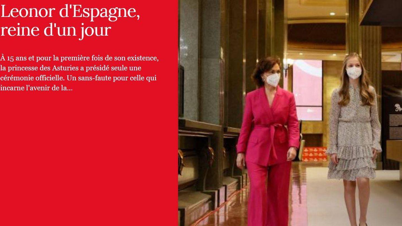 La princesa Leonor, en la portada de la edición digital de 'Point de Vue'.
