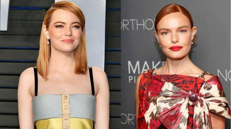 Rubio fresa o 'strawberry blonde' en Emma Stone y Kate Bosworth. (Getty)