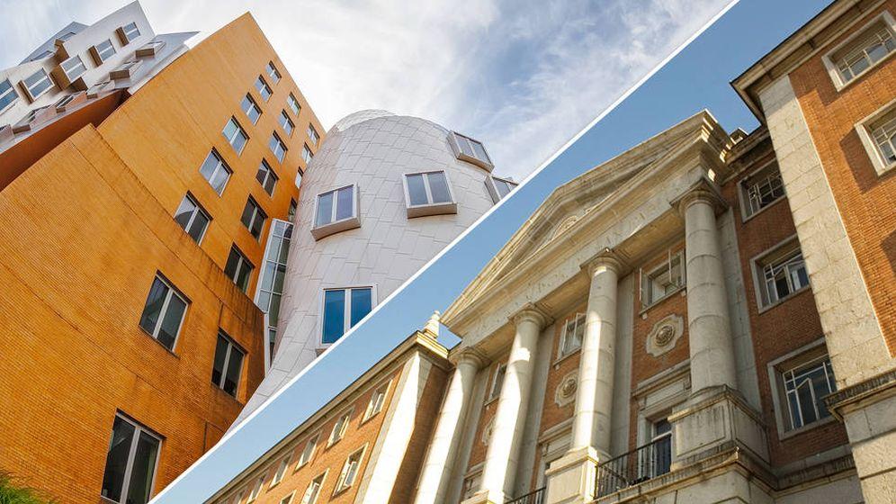 Foto: El Edificio 32 del MIT junto al edificio que albergó el ITP en Madrid. (Montaje: Enrique Villarino)