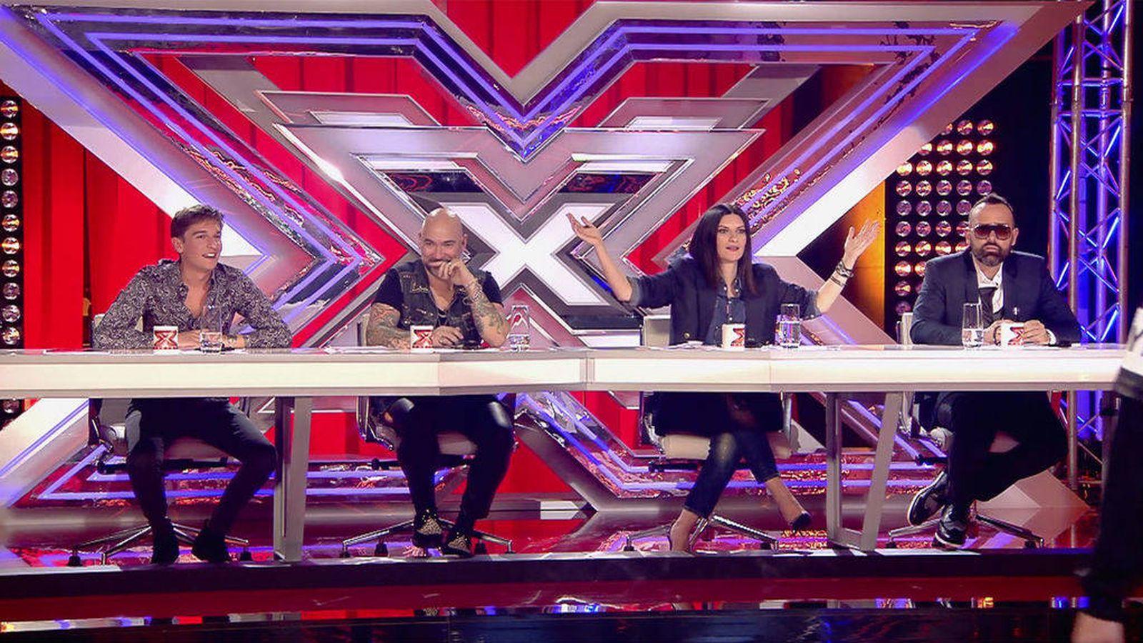 Foto: Xavi Martínez, Fernando Montesinos, Laura Pausini y Risto Mejide en 'Factor X'. (Mediaset)