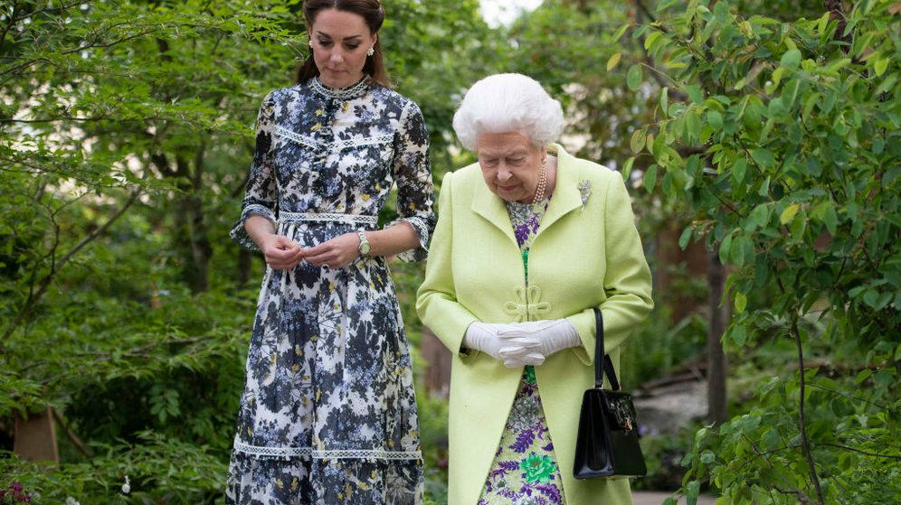 Foto: Kate Middleton con la reina Isabel II. (Getty)