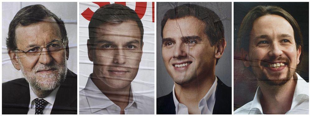 Foto: Combo de los carteles de Mariano Rajoy, Pedro Sánchez, Albert Rivera y Pablo Iglesias. (Reuters)