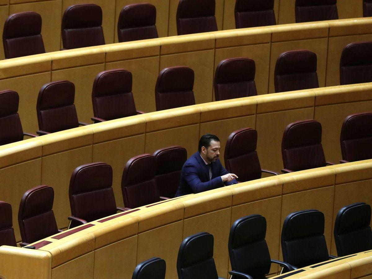 Foto: David Erguido, solo en su escaño del Senado, en una imagen de archivo. (EFE)