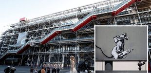 Post de Roban un grafiti de Banksy en memoria de mayo del 68 frente al Pompidou de París