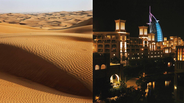 Foto: Imagen del contraste de Dubai: a la derecha, el desierto Rub Al Khali; a la derecha, vista nocturna del Al Qasr, el barrio de Dubai donde se encuentran  hoteles, centros de bienestar, bares restaurantes, mercadillos y tiendas.