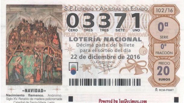 Foto: Octavo quinto premio de la Lotería de Navidad 2016