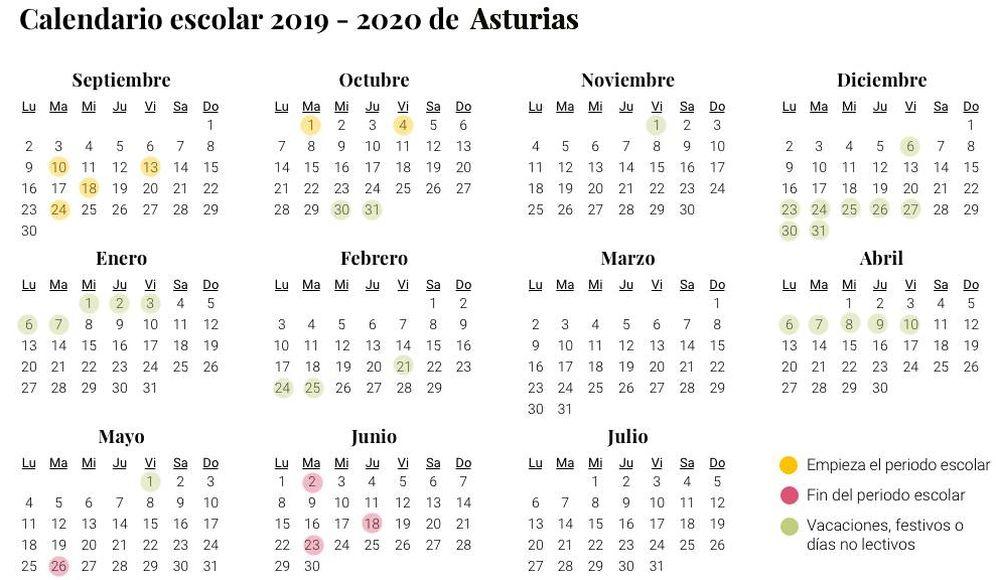 Foto: Calendario escolar 2019-2020 de Asturias (El Confidencial)