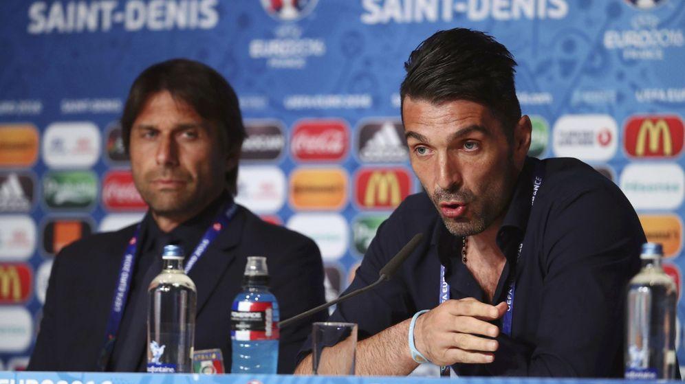 Foto: Conte y Buffon durante la rueda de prensa (Foto: UEFA)