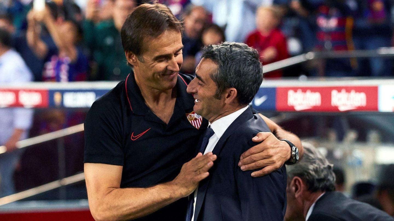Ernesto Valverde saluda a Julen Lopetegui. (EFE)