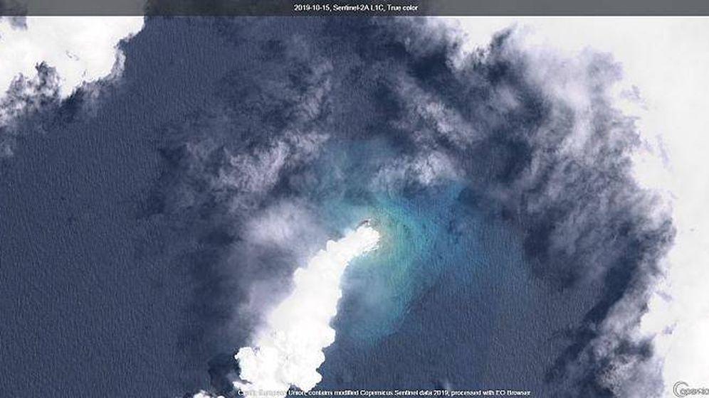 Foto: Proceso de destrucción/creación de Lateiki. Foto: Copernicus Sentinel HUB