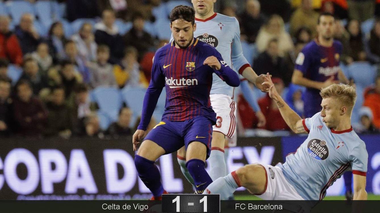 Foto: Arnaiz marcó el gol del Barcelona en Balaídos. (EFE)