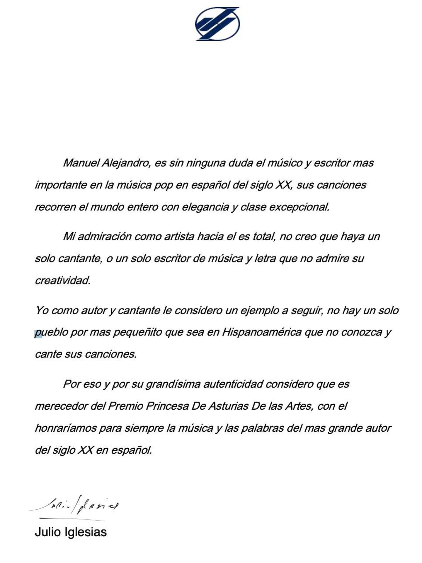 La carta de Julio Iglesias.
