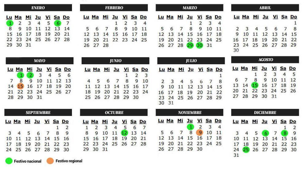 Foto: Calendario laboral de la Comunidad de Madrid de 2018.