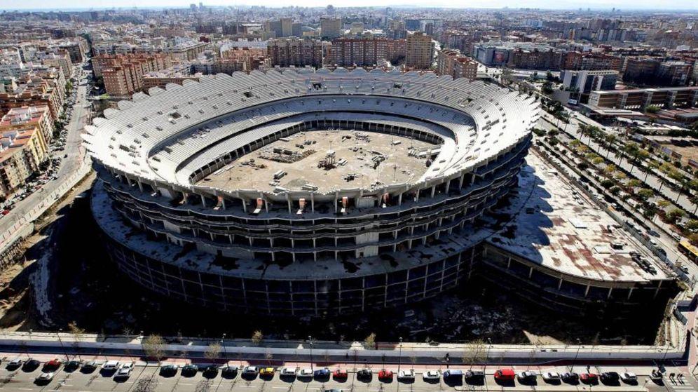 Foto: El nuevo Mestalla, en Nou Campanar, todavía sin finalizar.