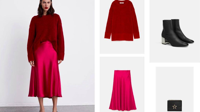 Jersey rojo (15,99 €), falda midi fluida (29,95 €), botines elásticos (29,95 €) y minibolso (39,95 €), todo de Zara.