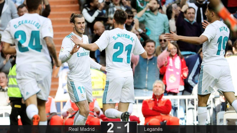 Foto: Gareth Bale celebra su gol ante el Leganés con varios de sus compañeros. (EFE)