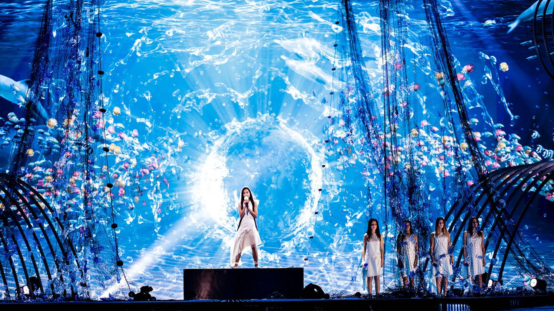 Melani, sobre el escenario de Eurovisión Junior 2019. (Thomas Hanses/TVE)