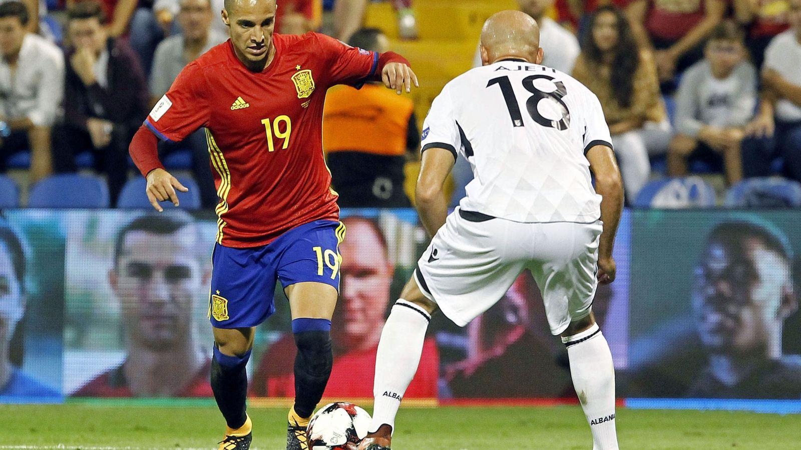 Foto: Rodrigo Moreno, en un partido con la selección española. (EFE)