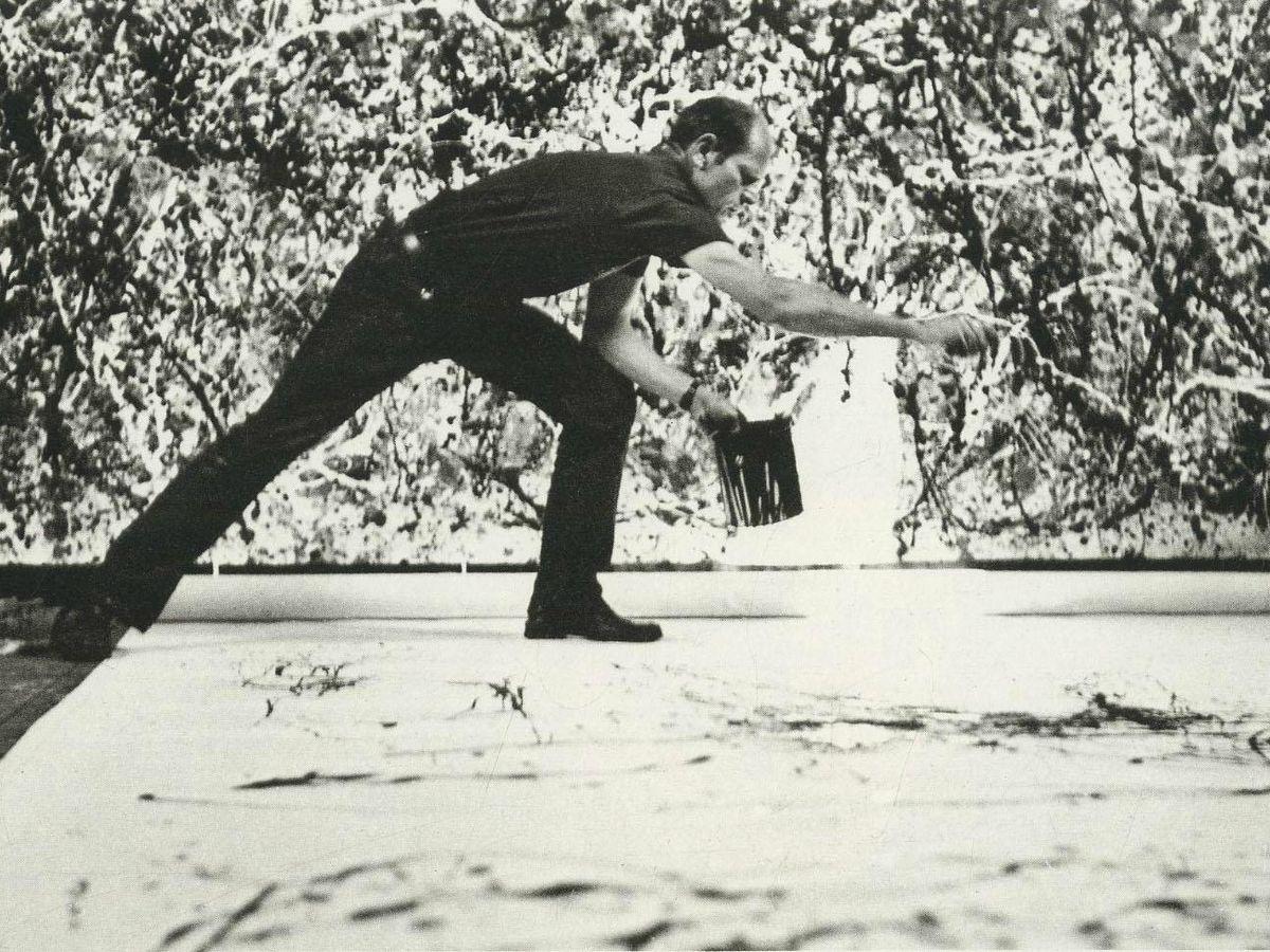Foto: Jackson Pollock en acción.
