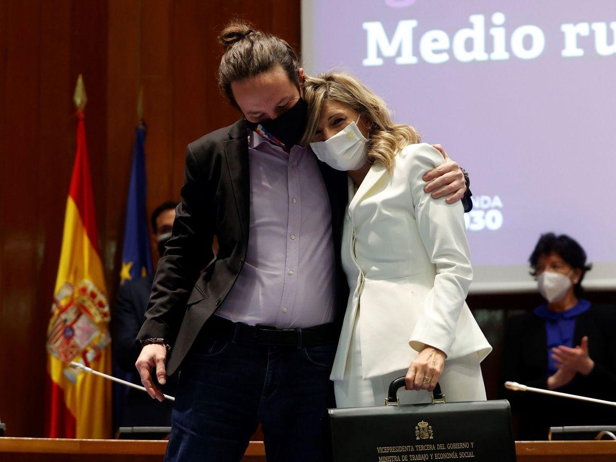 Foto: Pablo Iglesias y la vicepresidenta segunda, Yolanda Díaz. (EFE)