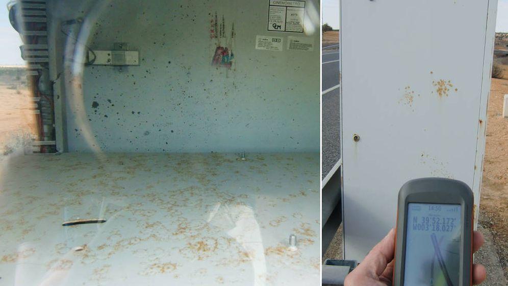 Foto: Caja de radar vacía en el km 83,4 de la N301 en Toledo. Foto: Unión Internacional para la Defensa de los Motociclistas.