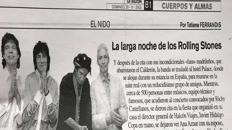 Noticia sobre los Rolling Stones y Richy Castellanos.