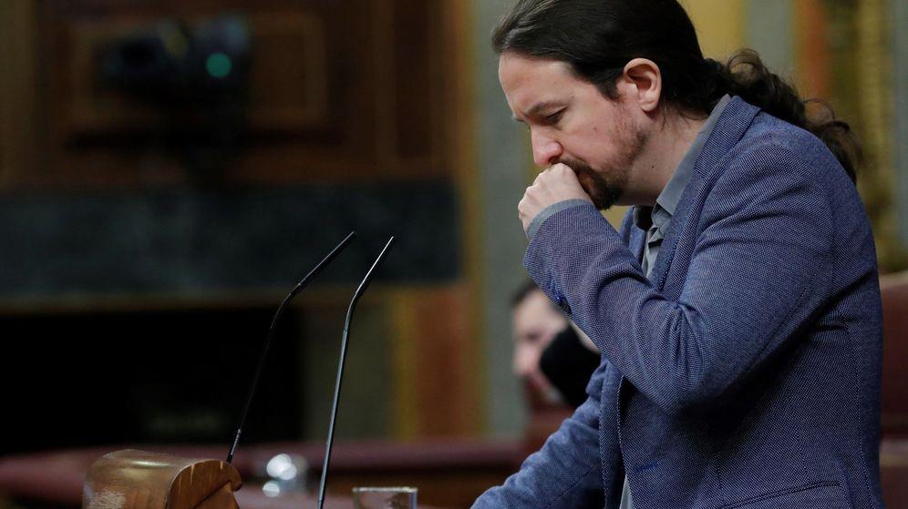Foto: El líder de Podemos, Pablo Iglesias, durante su intervención ante el pleno del Congreso tras la comparecencia del presidente del Gobierno. (EFE)