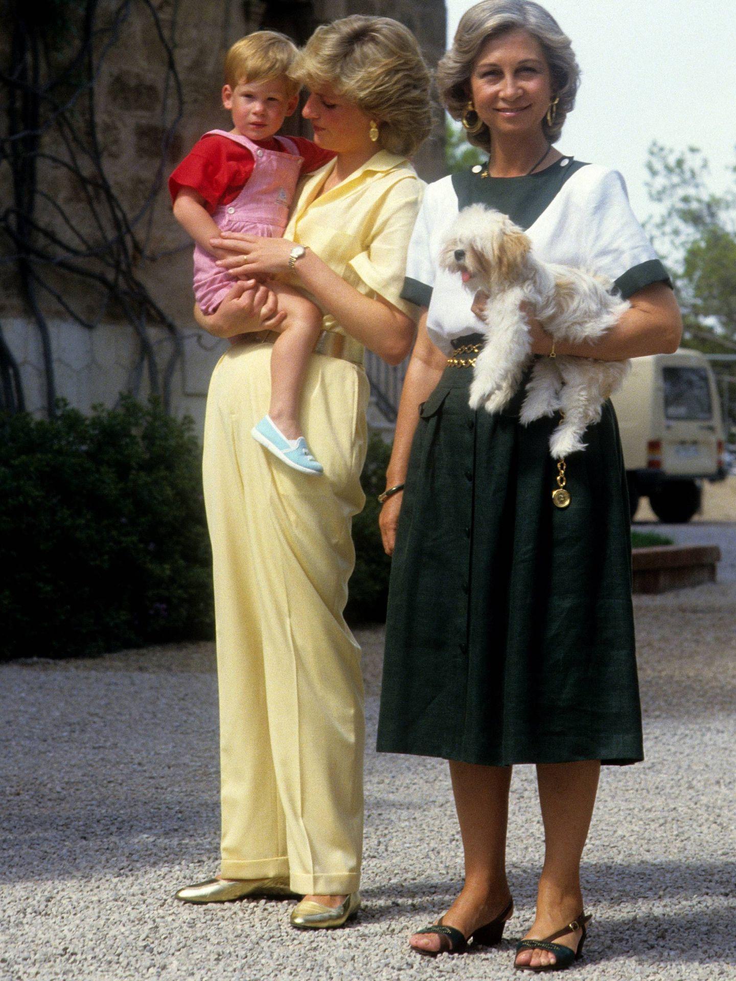Diana, doña Sofía y el pequeño Harry. (Cordon Press)