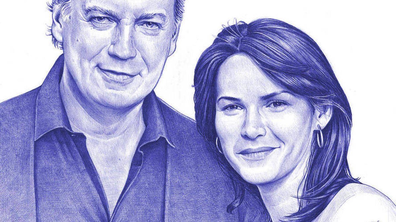 Imagen dibujada de la pareja en la cabecera del espacio. (Mediaset)