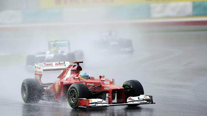 La lluvia torrencial del GP de Malasia de 2012 jugó un papel vital en el desarrollo de la carrera. (Ferrari)