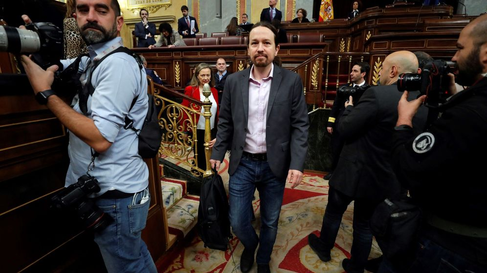 Foto: El líder de Unidas Podemos, Pablo Iglesias, hoy sábado a su llegada al Congreso de los Diputados. (EFE)
