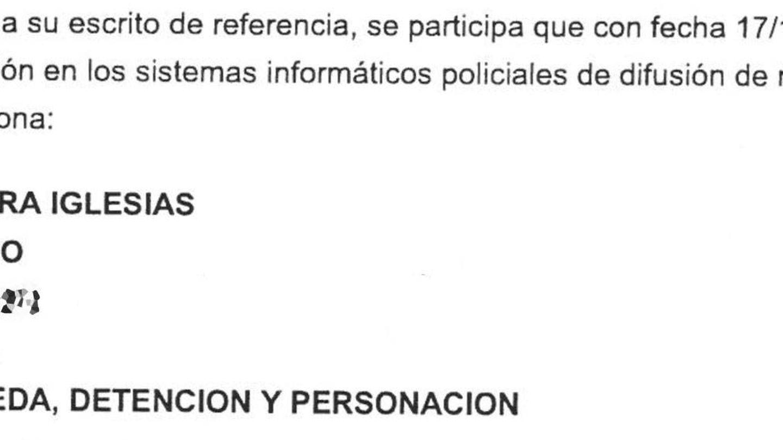 Extracto de la orden de busca y captura contra Rodrigo Nogueira Iglesias.