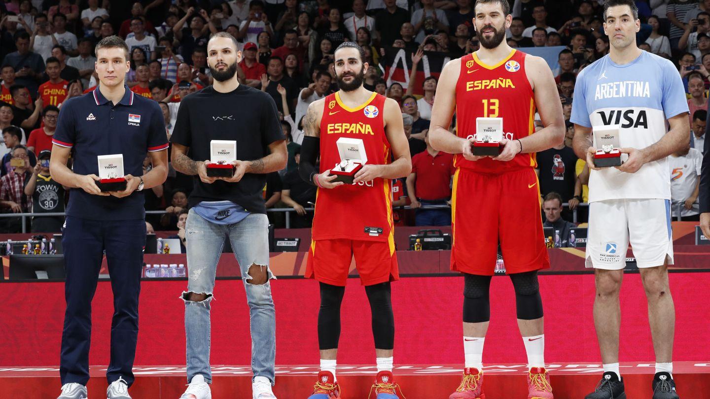 Ricky Rubio y Marc Gasol formaron parte del mejor quinteto del Mundial. (Reuters)