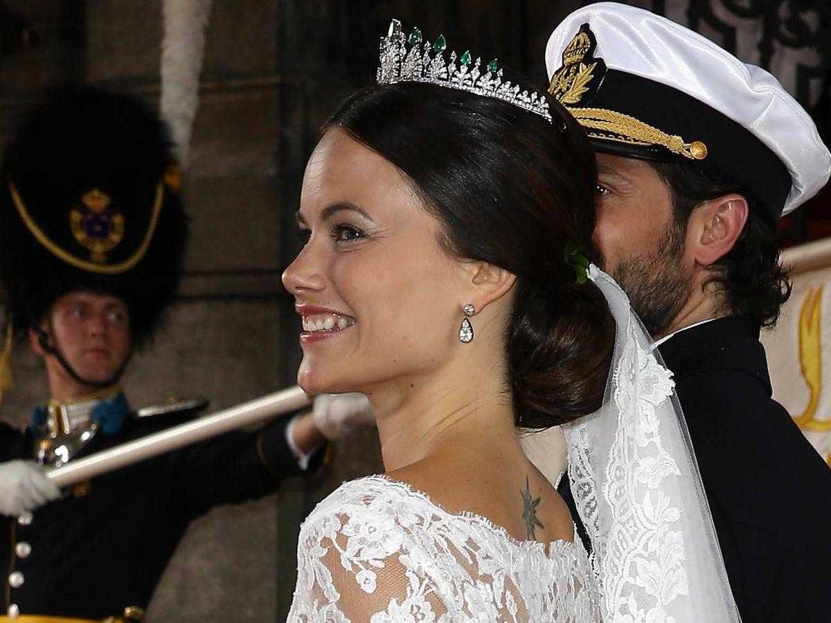Foto: Sofía de Suecia, en su boda con el príncipe Carlos Felipe. (Getty)