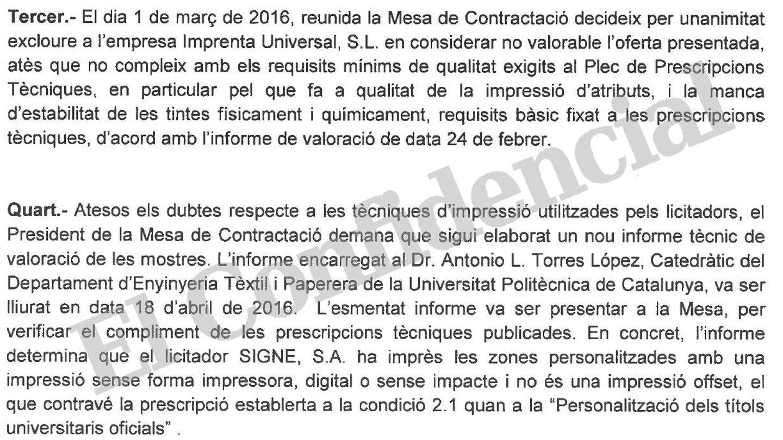 Extracto de la decisión rectoral de la Universidad de Barcelona.