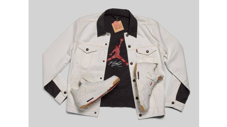 Foto: La nueva Jordan IV en denim blanco y negro hace referencia a la artesanía clásica de Levi's.